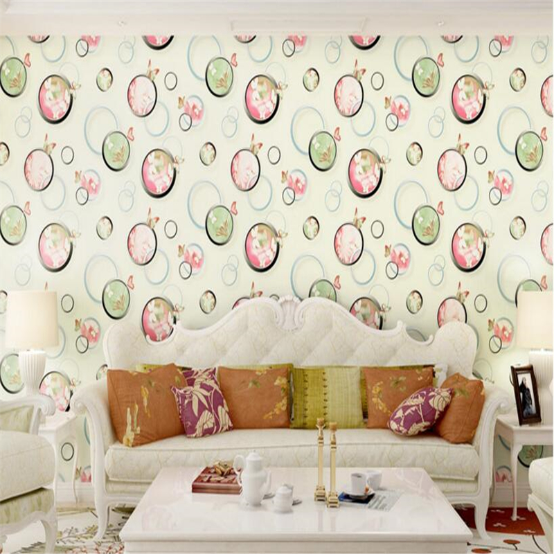 beibehang Fashionable modern non woven wallpaper Butterfly Bubble Wall papers Living Room Bedroom Sofa Background 3d wallpaper beibehang wall paper pune girl room cartoon children s room bedroom shop for environmental non woven wallpaper ocean mermaid