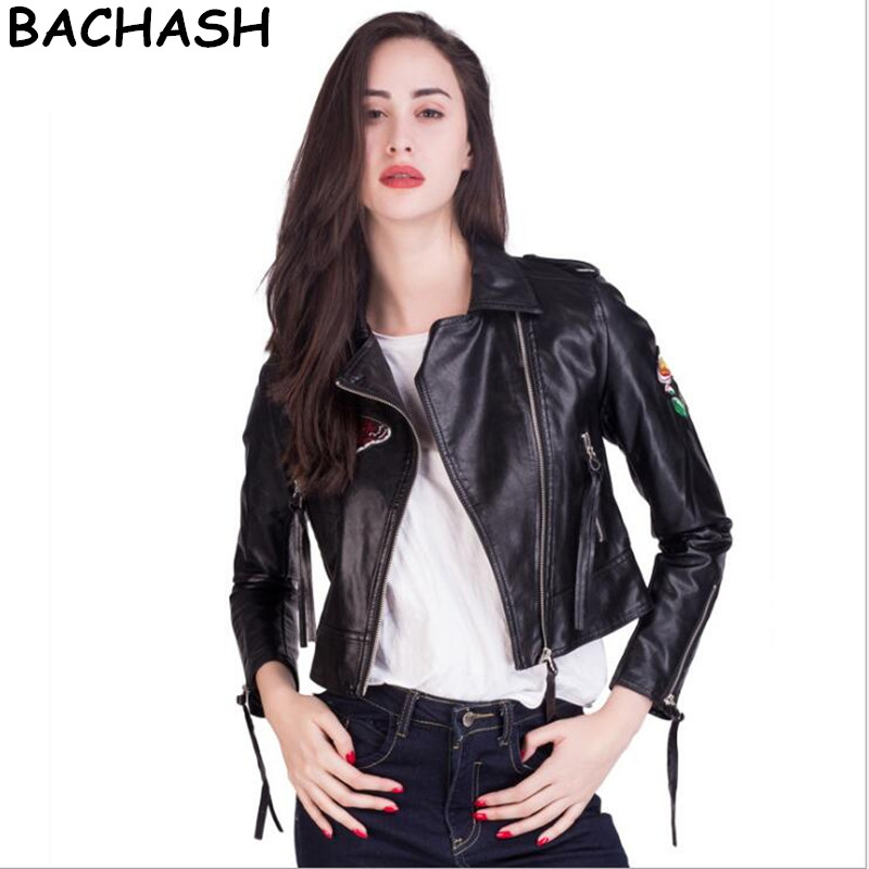 BACHASH Pu Leather Jacket Women Suede Fashion Butterfl Black Motorcycle Coat Short Faux Leather Biker Jacket Soft Tassels Jacket