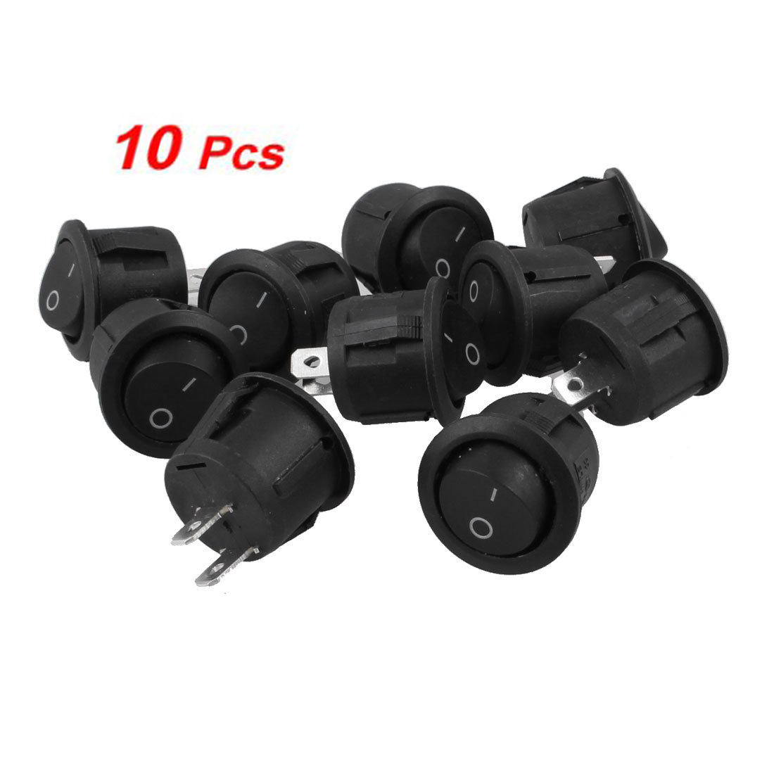 Promotion! 10Pcs AC 6A 10A 250V On Off Snap in SPST Round Boat Rocker Switch Black 5 pcs ac 6a 250v 10a 125v 3 pin black button on on round boat rocker switch