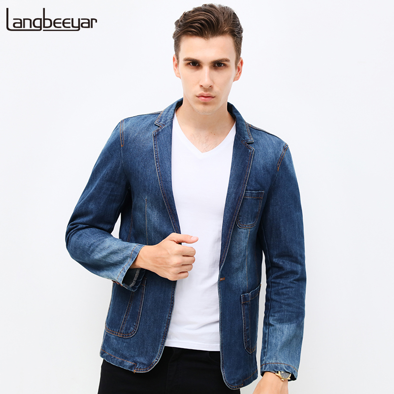 HOT 2018 New Spring Fashion Brand Men Blazer Men Trend Jeans Suits Casual Suit Jean Jacket Men Slim Fit Denim Jacket Suit Men ...