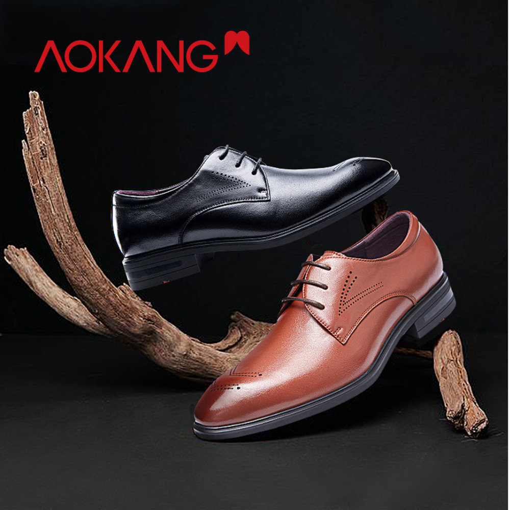 AOKANG  men dress shoes genuine leather men's wedding shoes brand men shoes brogue shoes high quality-in Formal Shoes from Shoes    2