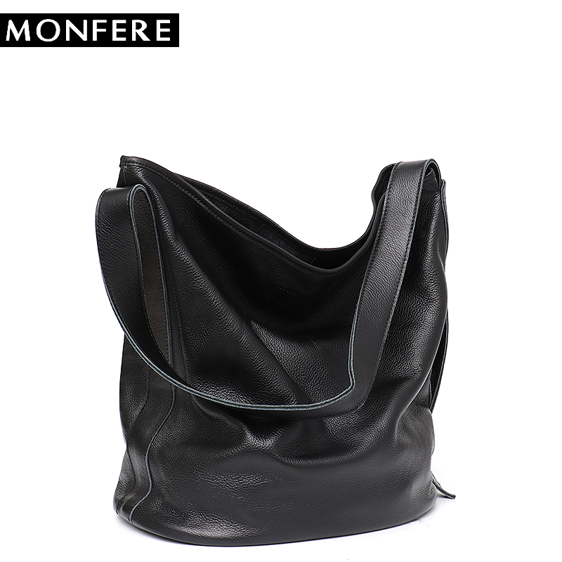 bbbde2bb26 MONFERE Large Capacity Casual Leather Bag for Lady Soft Real Genuine  Leather Women Handbags Female Hobo