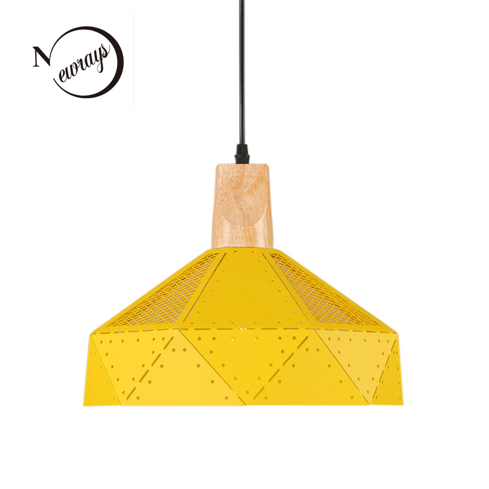 Modern art deco iron wooden pendant light LED E27 countryside hanging lamp with 7 colors for living room bedroom office canteen squared countryside iron art storage barrel flower implement brown green