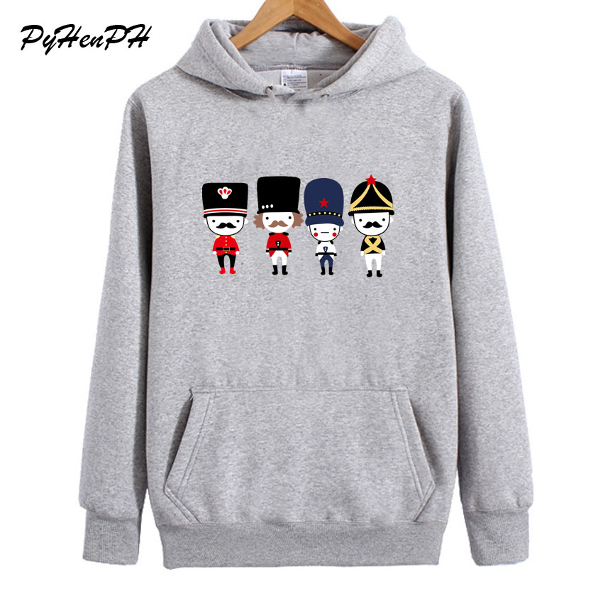 Women Hoodis Fashion Cartoon Guard Printed Sweatshirt Womens Winter Fleece Hoodie Casual Long Sleeve Pullovers Female