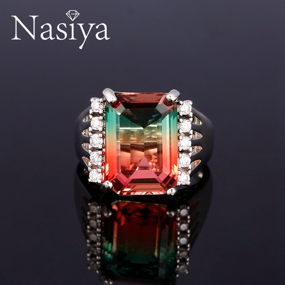 Nasiya Fashion Multicolor Tourmaline Ring For Women 925 Sterling Silver Trendy Fine Jewelry For Party Engagement Daily