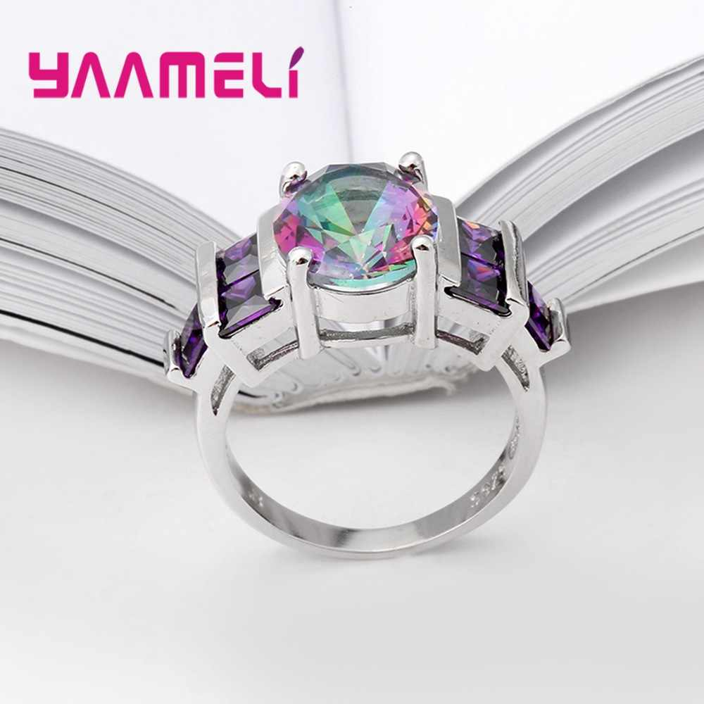 Novelty แท้ 925 เงินแหวนหญิง Mystic Rainbow หินออสเตรียคริสตัลงานแต่งงานอุปกรณ์เสริม