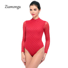 Ziamonga Mesh White Bodysuits Female Body With Long Sleeve Hollow Fitness Sexy Hot Slim Bodysuit Women Clothes 2017 Autumn Sale