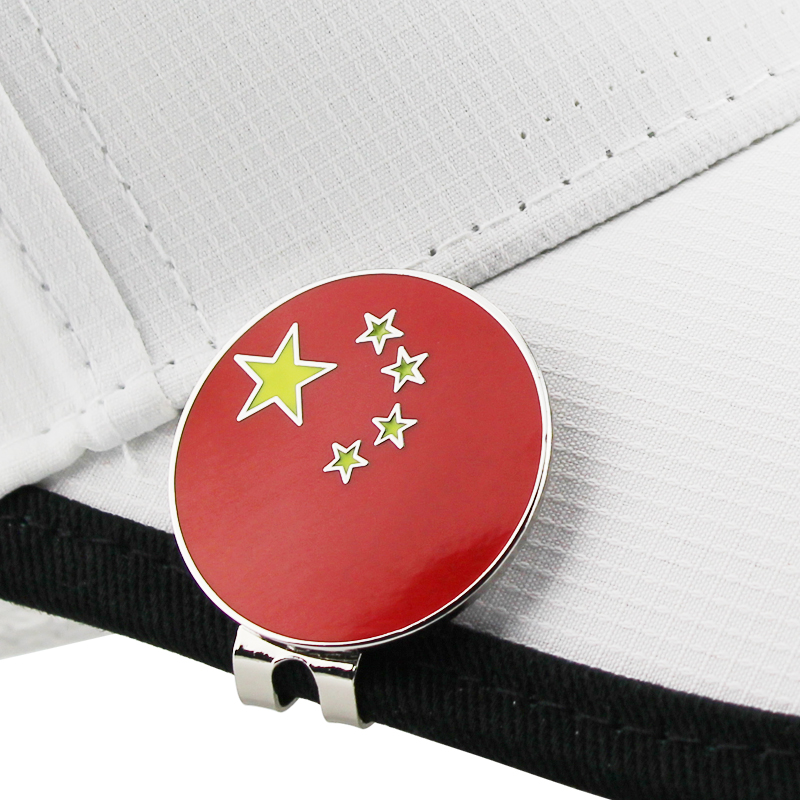China Flag Golf Cap Clip Golf Ball Marker Alloy Professional 1.18