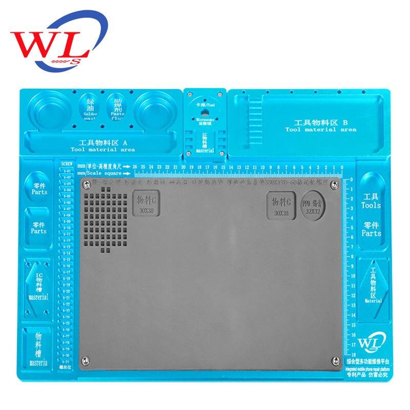 WL en alliage d'aluminium Pad de réparation multifonction Base de Microscope plate forme de Maintenance de réparation de téléphone Mobile + seulement Pad