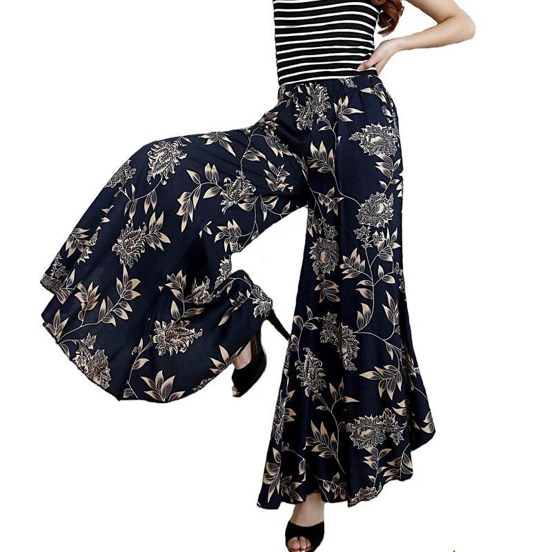 2018 New women summer pants pantalon femme print vintage trousers women Mid Wide Leg Pants