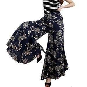 Image 2 - 2019 חדש נשים קיץ מכנסיים pantalon femme הדפסת בציר מכנסיים נשים אמצע רחב רגל מכנסיים