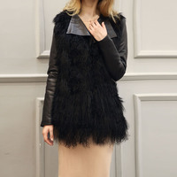 2017 Fake Fur Plus Size Women Overcoat Winter Black Short Fur Coat Cardigan Girl Streetwear Party