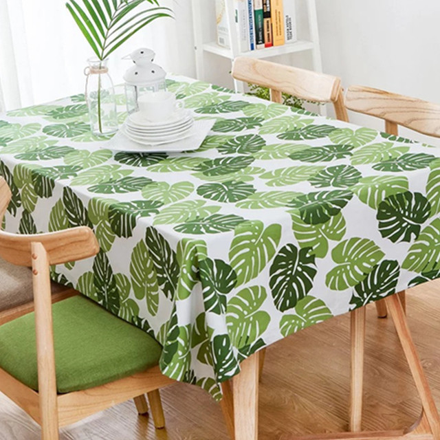 Pastoral Cotton Thicker Tablecloths Green Large Leaf Printing Tablecloths  Household Square Tablecloths
