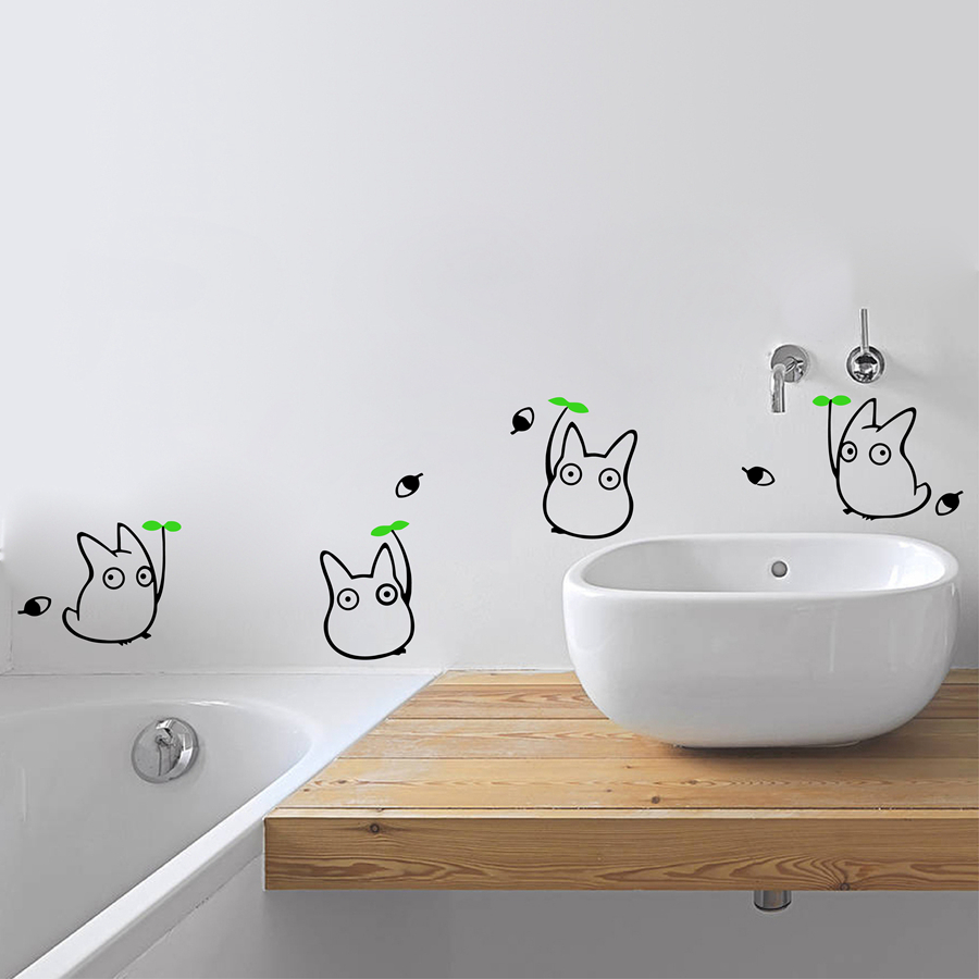 japanese cartoon animation vinyl wall sticker totoro wall decals for children 39 s room bathroom. Black Bedroom Furniture Sets. Home Design Ideas
