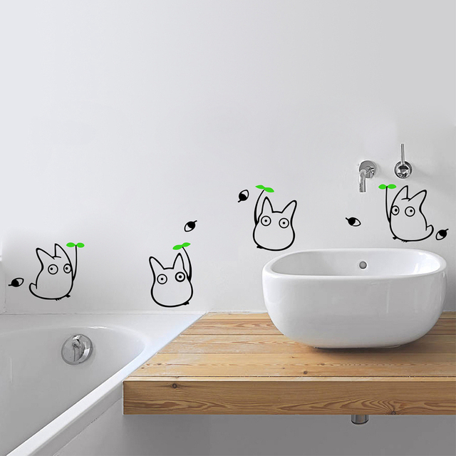 Japanese Cartoon Animation Vinyl Wall Sticker Totoro Decals For Childrens Room Bathroom Decoration With