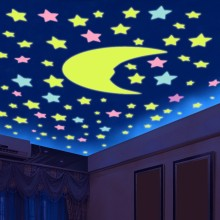 100pcs 3D Stars Glow In The Dark Stickers Luminous Fluorescent Stickers For Kids Baby Room Bedroom Ceiling Home Decor free shipping new hot 100pcs 3cm 3d stars glow in the dark luminous fluorescent plastic stickers living decor kids
