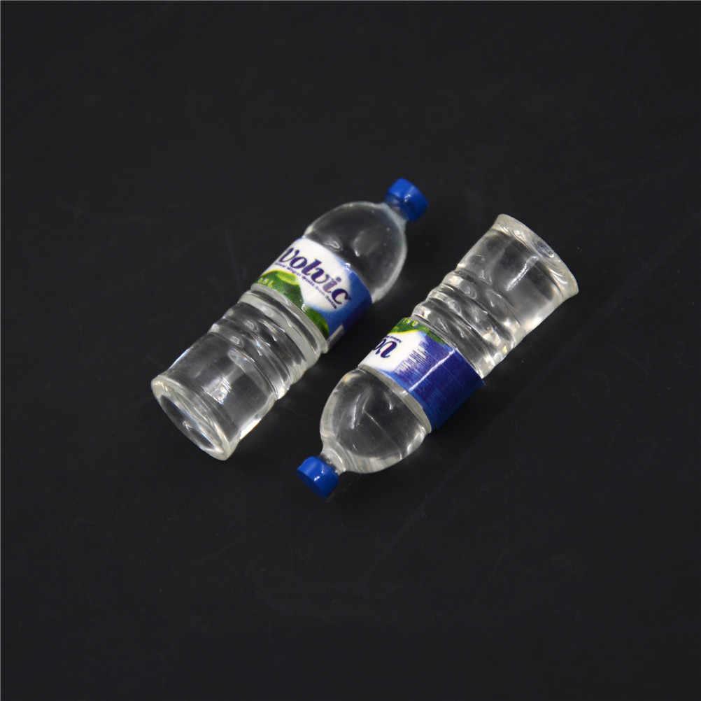 2 sztuk 1:12 Mini butelki na wodę mineralną lalka jedzenie kuchnia akcesoria do salonu dla dzieci udawaj, że zabawki domek dla lalek zabawka miniaturka