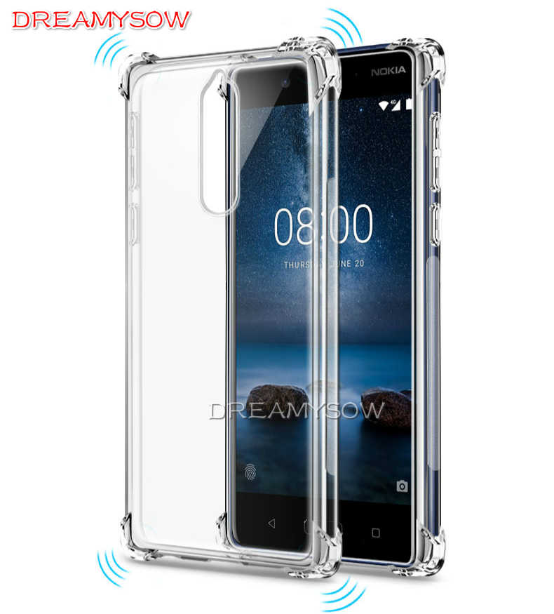 Anti-knock claro caso para Nokia 6,1, 5,1, 3,1 6X6 2018 7Plus 9 6 5 3 cubierta transparente para Nokia9 6 5 3 funda resistente a caídas Capa