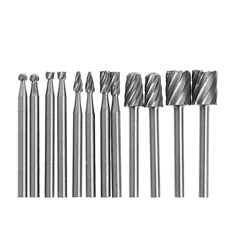 12 Pcs 1/8 Inch Shank HSS Rotary Burr File Set Milling Drill Cutter Router Bit