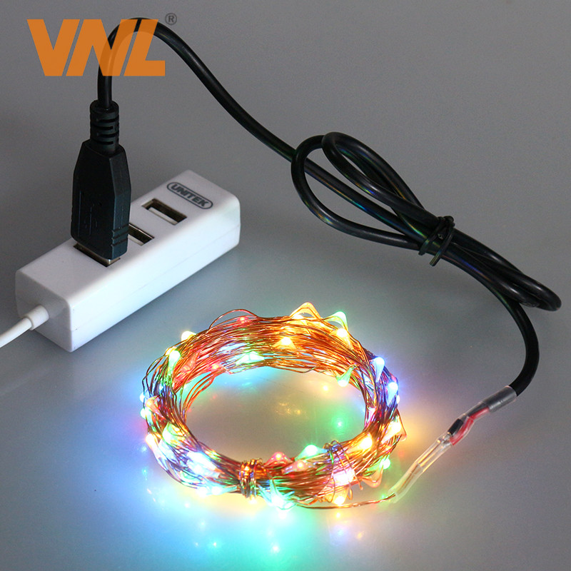 10M 33FT RGB 100 LED USB Decoration Copper Wire Fairy String Light for New Years Day Wedding Party Decoration IP65 waterproof