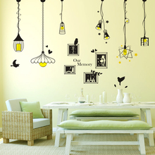 Wall Sticker light picture frame black color droplight stickers For dining room/sofa living room decoracion hogar free shipping