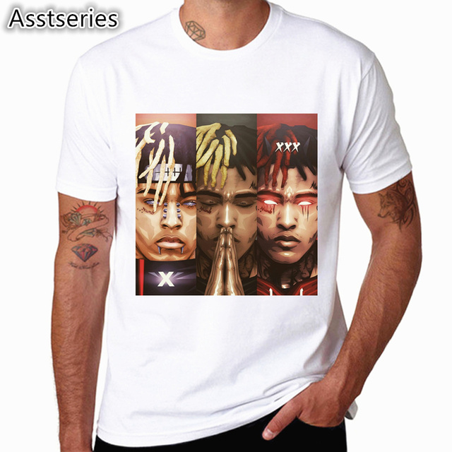 Xxxtentacion Character Print T-Shirt Fashion Casual Fitness Cool O-neck Men's T Shirt Summer Short Sleeve Men Clothing