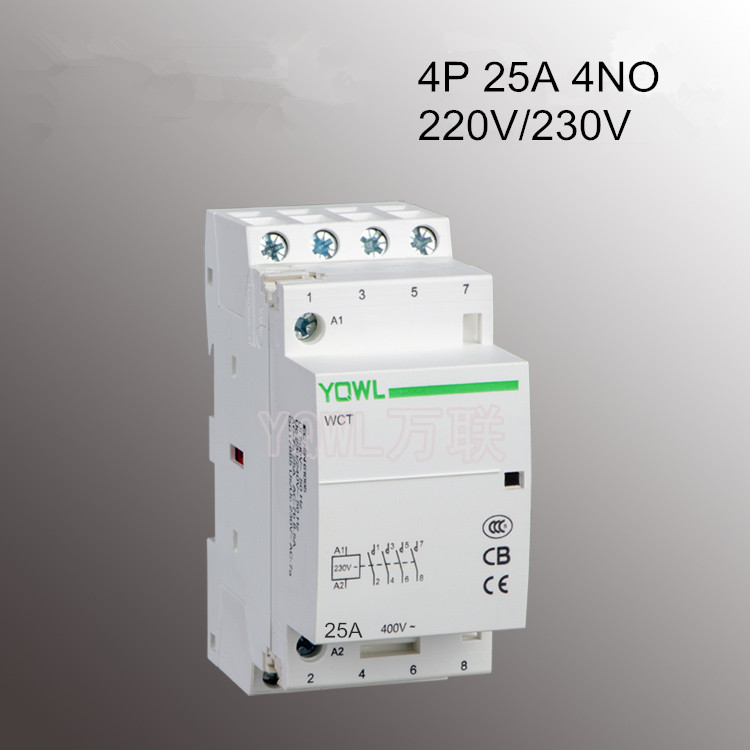 4P 25A CT1 220V/230V 50/60HZ 35mm Din rail Modular AC Contactor Household Home ac contactor 4NO4P 25A CT1 220V/230V 50/60HZ 35mm Din rail Modular AC Contactor Household Home ac contactor 4NO