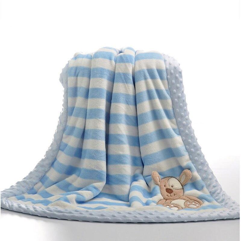 Image 2 - Двухслойное детское одеяло с мультяшным животным, теплое Хлопковое одеяло для новорожденных, покрывало для колясок, детское зимнее одеялоОдеяла и пеленки   -