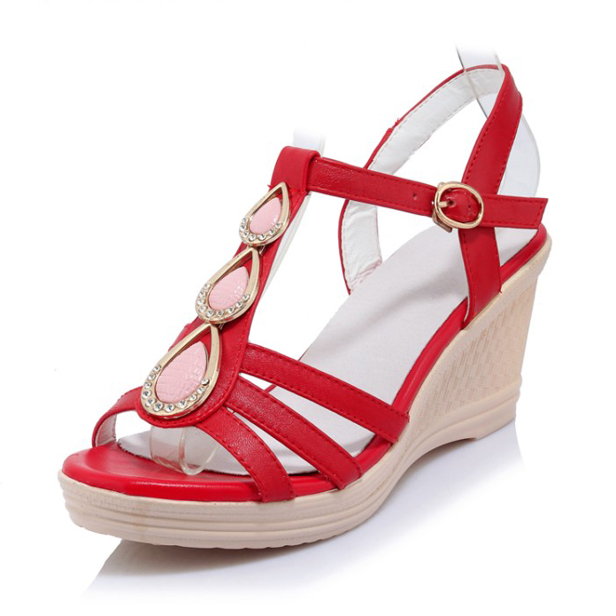 (Black, red, white) Free shipping 2017 Fashion Star Style Summer Women's Crystal sandals Wedges High Heel Sweet shoes for women free shipping 1pc retail 2016 spring girls fashion white with black star leggings