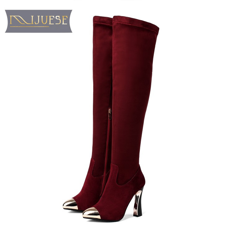 MLJUESE 2018 women knee high boots cow Suede winter warm boots Hoof Heel  short plush wine c284e0812bfd
