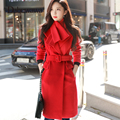 Dabuwawa Red Women Winter Vintage Warm Cashmere Christmas Wool Long Coats Casual Belted Outwear Coats With Scarf for Girls lady