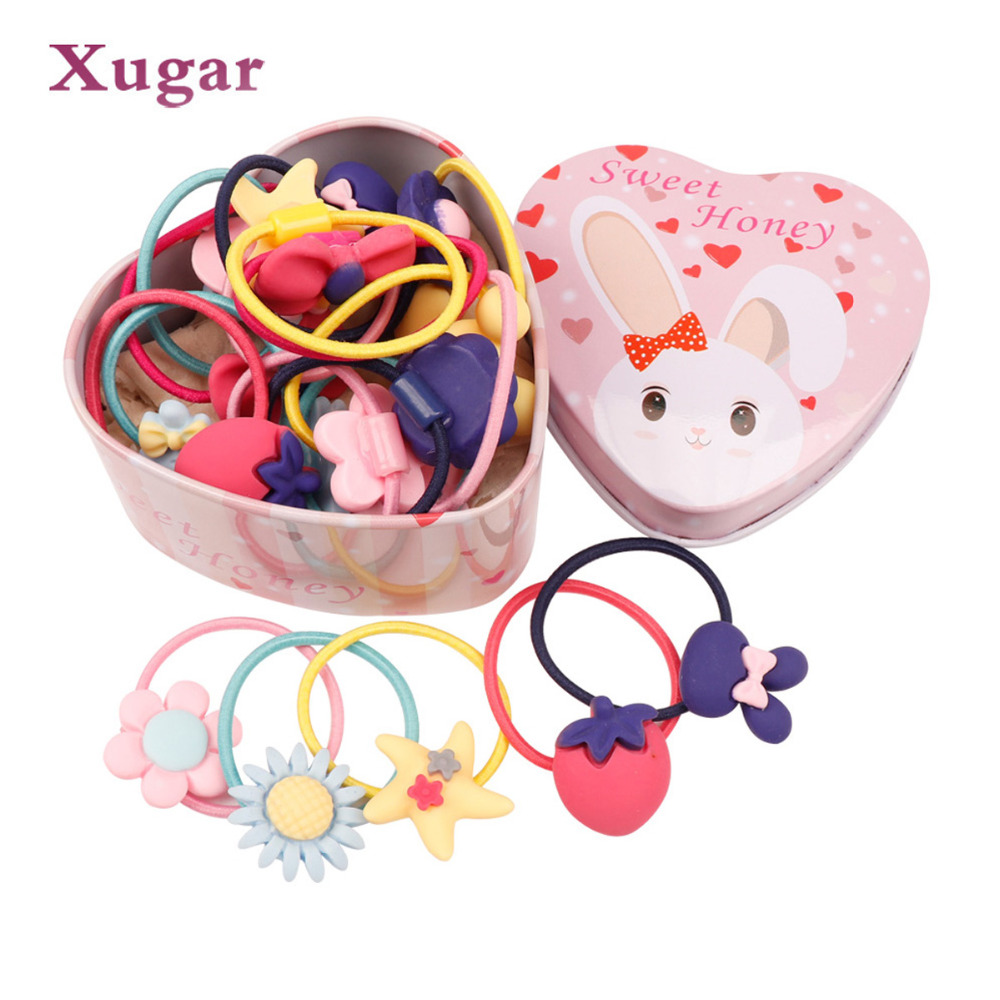 20pcs/Lot Box Packed Cartoon Elastic Hair Bands Girls Ponytail Holder   Headwear   Scrunchies Hair Rope Headbands Hair Accessories