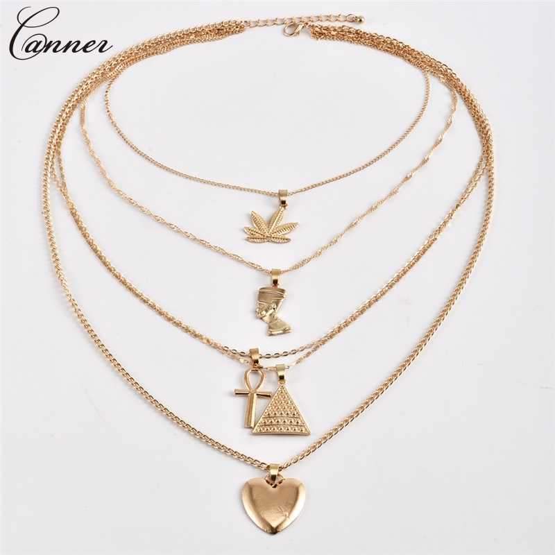 Exaggerated Metal Maple Leaf Love Heart Cross Necklaces Pendants Gold Collar Chains Multi Layered Necklace Women Punk Jewelry Q4