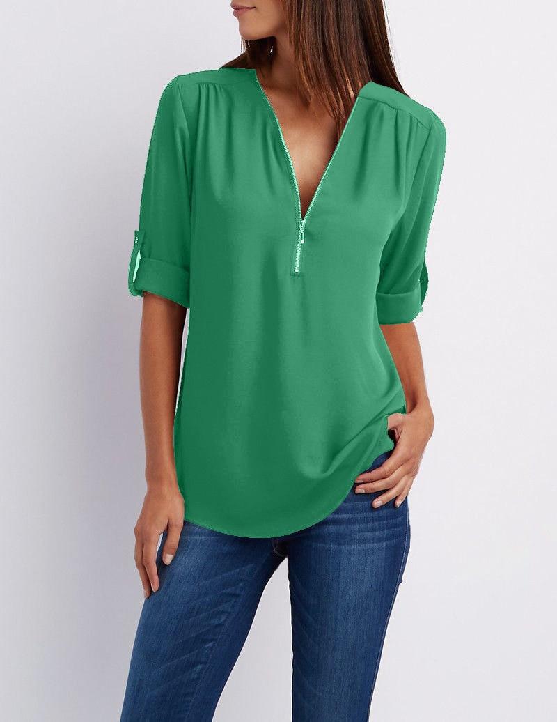 LOSSKY fashion v neck short sleeve summer chiffon womens tops 15