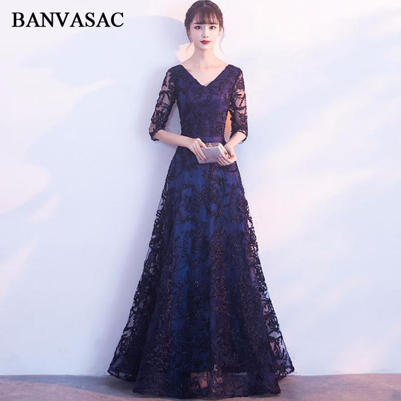 BANVASAC 2018 V Neck A Line Lace Embroidery Long Evening Dresses Elegant Sash Party Half Sleeve Backless Prom Gowns