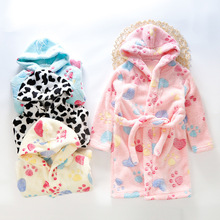 Kids Bath Robes Winter Thicken Hooded Childrens Bathrobe Flannel Warm Boys Robe Soft Baby Girls Pyjamas Coral Velvet Night Gown