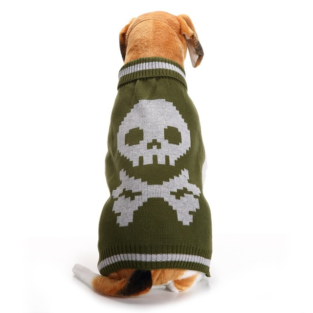 Puppy Dog Sweater Knitwear Turtleneck Skull Pattern Knitted Doggy