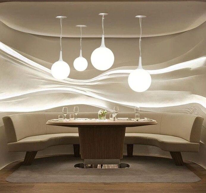 Stair pendelleuchte 3 KOPF Moderne kurze weiße glaskugel pendelleuchte restaurant lampe wohnzimmer lichter ZCL-in Pendelleuchten aus Licht & Beleuchtung bei