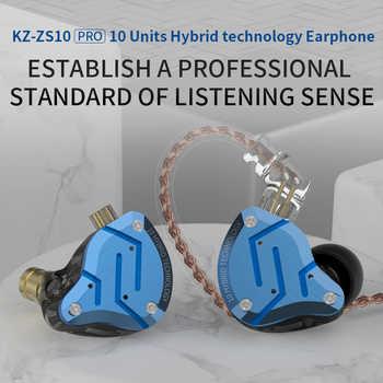 KZ ZS10 Pro Blue Noise Cancelling Earphones Metal Headset 4BA+1DD Hybrid 10 drivers HIFI Bass Earbuds In Ear Monitor Headphones