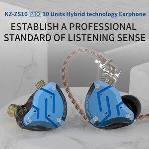 Image 3 - KZ ZS10 Pro mavi gürültü iptal kulaklık Metal kulaklık 4BA + 1DD hibrid 10 sürücüleri HIFI bas kulakiçi monitör kulaklık