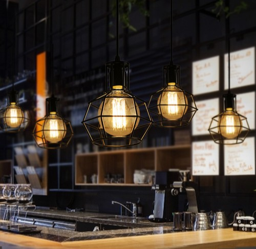 Nordic loft style edison droplight industrial vintage for Bar fixtures