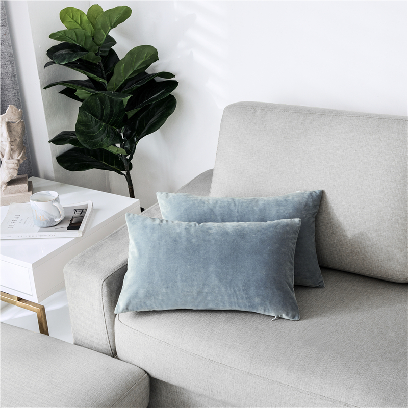 PHF New Product Velvet Throw Pillow case 30 50 cm Covers Solid Light Blue Grey Color Pillowcases Cover Chair Seat Square Pillow in Pillow Case from Home Garden