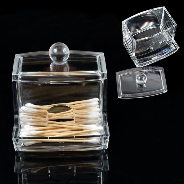 1Pcs Acrylic Makeup Cotton Swab Cotton Pad Holder Cosmetic Q Tip Storage Box