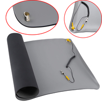 1pc New Black Durable Desktop Anti Static Mat Silicone ESD Grounding Mats 700*500mm + Cord for PC Laptop Repair Tools Mayitr