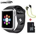Langtek sim apoio tf cartão bluetooth smart watch a5 esporte relógio de pulso pulseira para android telefone inteligente com câmera