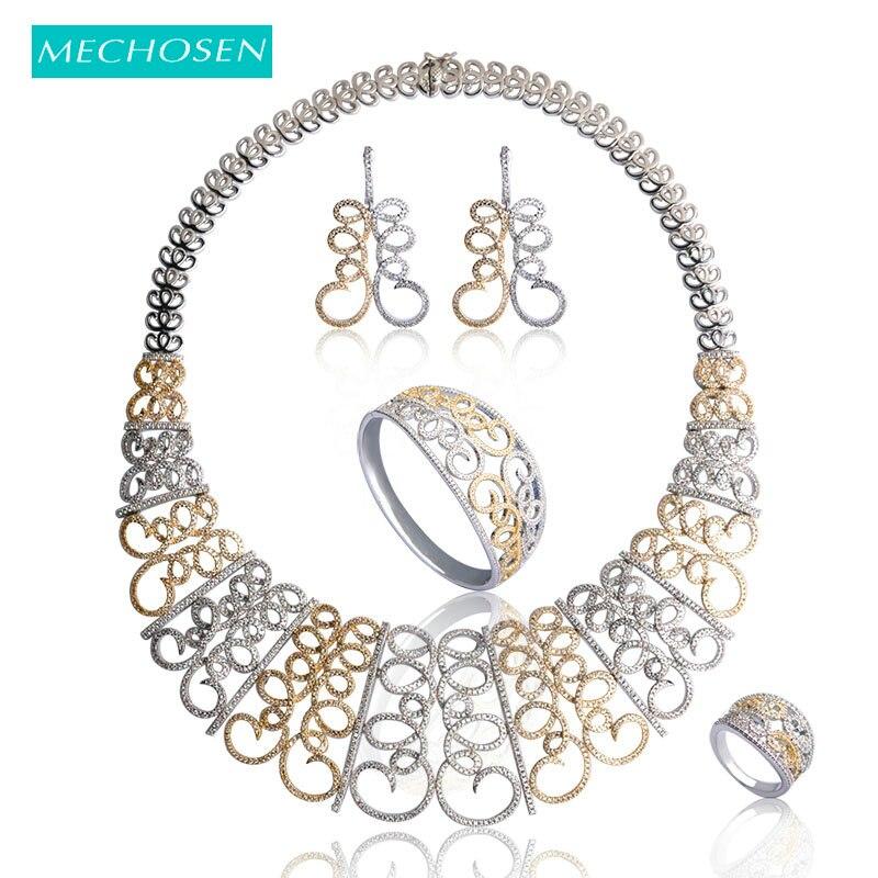 Mechoice ensemble de bijoux de luxe en zircone pleine fleur couleur argent/or collier boucles d'oreilles Bracelet anneau pour femmes fête de mariage Joyas
