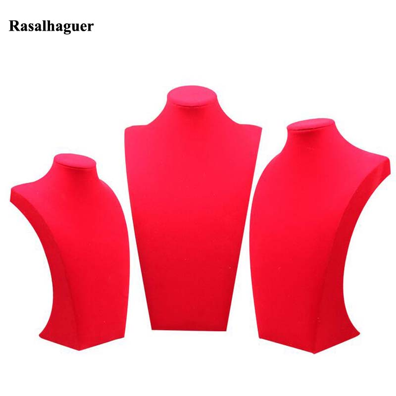 Classic Red Velvet Mannequin Shelf Necklace Pendant Chain Jewelry Display Stand Holder Decorate Bracelet Jewelry Rack Show