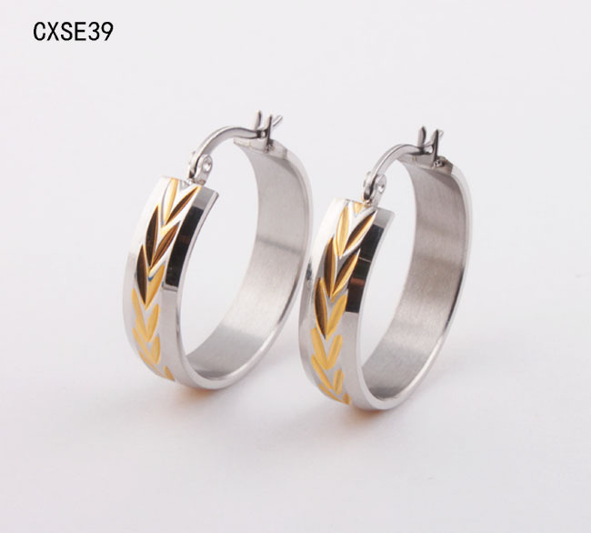 <font><b>wholesale</b></font> <font><b>New</b></font> <font><b>arrival</b></font> <font><b>Hot</b></font> <font><b>Sales</b></font> Fashion Jewelry Women's 316l <font><b>Stainless</b></font> Steel gold <font><b>color</b></font> Earrings For men or Women CXSE39