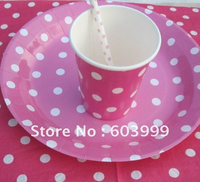 Pink Polka Dot Birthday Party supplies Tableware paper party plate cups Napkins Paper Straws pink spotty & Pink Polka Dot Birthday Party supplies Tableware paper party plate ...