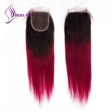 Free Part T1B Burgundy Ombre color Lace Closure 1pc lot 7A grade Brazilian virgin human hair